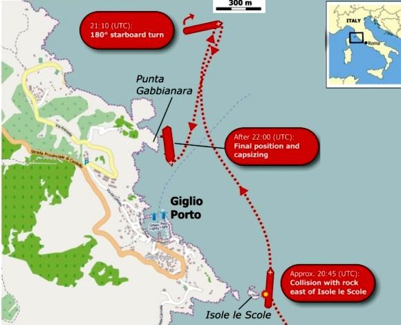 carte de l'échouage du Costa Concordia