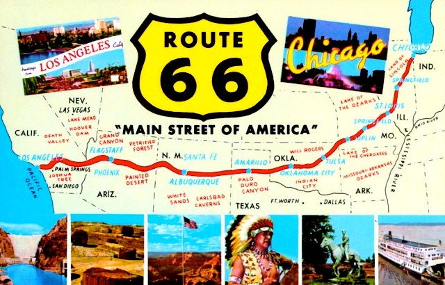 La route 66 amércaine de Chicago à Los Angelès 4000 km